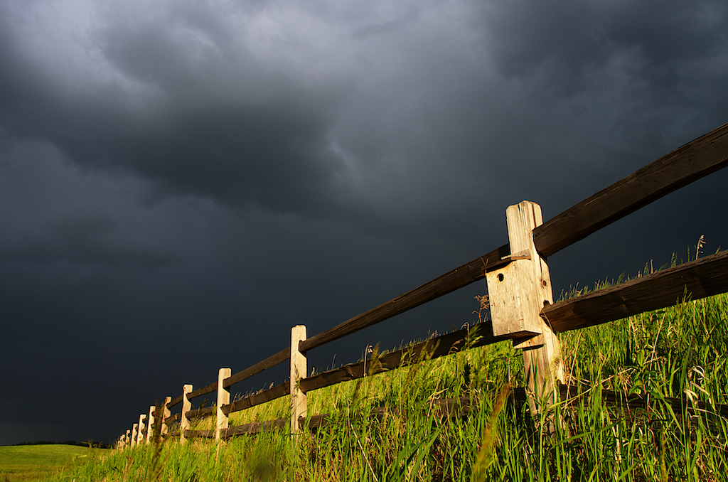 Fence Field Stormy Clouds